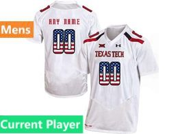 Mens Ncaa Texas Tech Current Player White Printed Usa Falg Under Armour State Pride Football Jersey