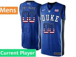 Mens Ncaa Nba Duke Blue Devils Current Player Black Printed Usa Flag Nike Acc Elite Jersey