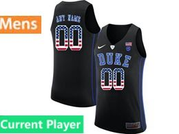 Mens Ncaa Nba Duke Blue Devils Current Player Black Printed Usa Flag Nike Jersey