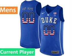 Mens Ncaa Nba Duke Blue Devils Current Player Blue Printed Usa Flag Nike Jersey
