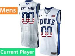 Mens Ncaa Nba Duke Blue Devils Current Player White Printed Usa Flag Nike Acc Elite Jersey