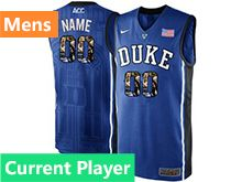 Mens Ncaa Nba Duke Blue Devils Current Player Blue Printed Nike Acc Elite Jersey