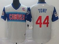 Mens Chicago Cubs #44 Tony (anthony Rizzo) Light Gray 2019 Mlb Little League Cool Base Throwbacks Nickname Jersey