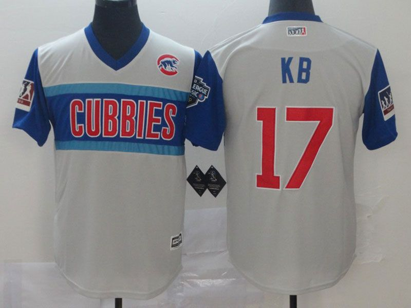 Mens Chicago Cubs #17 K B (kris Bryant) Light Gray 2019 Mlb Little League Cool Base Throwbacks Nick Name Jersey