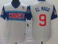 Mens Chicago Cubs #9 El Mago Light Gray 2019 Mlb Little League Cool Base Throwbacks Nickname Jersey