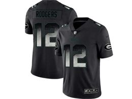 Mens Women Nfl Green Bay Packers #12 Aaron Rodgers Pro Line Black Smoke Fashion Limited Jersey