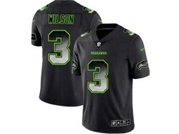 Mens Nfl Seattle Seahawks #3 Russell Wilson Pro Line Black Smoke Fashion Limited Jersey