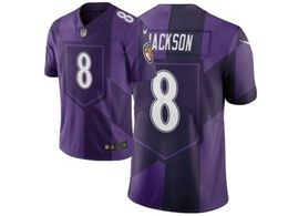 Mens Nfl Baltimore Ravens #8 Lamar Jackson Purple City Edition Nike Vapor Untouchable Limited Jersey