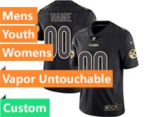 Mens Women Youth Nfl Pittsburgh Steelers Custom Made Black Gold Vapor Untouchable Limited Jersey