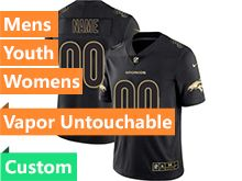 Mens Women Youth Nfl Denver Broncos Custom Made Black Gold Vapor Untouchable Limited Jersey
