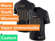 Mens Women Youth Nfl Chicago Bears Custom Made Black Gold Vapor Untouchable Limited Jersey