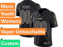 Mens Women Youth Nfl Dallas Cowboys Custom Made Black Gold Vapor Untouchable Limited Jersey