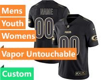 Mens Women Youth Nfl Green Bay Packers Custom Made Black Gold Vapor Untouchable Limited Jersey