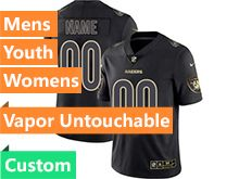 Mens Women Youth Nfl Oakland Raiders Custom Made Black Gold Vapor Untouchable Limited Jersey