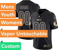 Mens Women Youth Nfl Washington Redskins Custom Made Black Golden Vapor Untouchable Limited Jersey