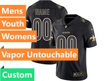Mens Women Youth Nfl New Orleans Saints Custom Made Black Golden Vapor Untouchable Limited Jersey