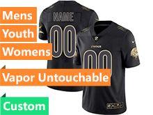Mens Women Youth Nfl Minnesota Vikings Custom Made Black Golden Vapor Untouchable Limited Jersey