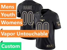 Mens Women Youth Nfl New England Patriots Custom Made Black Golden Vapor Untouchable Limited Jersey