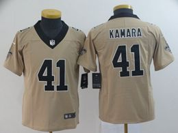Women Youth Nfl New Orleans Saints #41 Alvin Kamara Gold Nike Inverted Legend Vapor Untouchable Limited Jersey