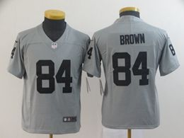 Women Youth Nfl Oakland Raiders #84 Antonio Brown Gray Nike Inverted Legend Vapor Untouchable Limited Jersey