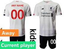 Youth 19-20 Soccer Liverpool Club Current Player White Away Short Sleeve Suit Jersey