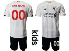 Youth 19-20 Soccer Liverpool Club Custom Made White Away Short Sleeve Suit Jersey