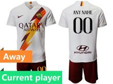 Mens 19-20 Soccer As Roma Club Current Player White Away Short Sleeve Suit Jersey