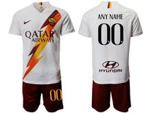 Mens 19-20 Soccer As Roma Club ( Custom Made ) White Away Short Sleeve Suit Jersey