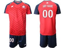 Mens 19-20 Soccer Lille Olympique Sporting Club ( Custom Made ) Red Home Short Sleeve Suit Jersey