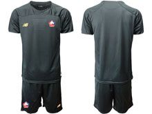 Mens 19-20 Soccer Lille Olympique Sporting Club Blank Black Goalkeeper Short Sleeve Suit Jersey