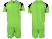 Mens 19-20 Soccer Lille Olympique Sporting Club Blank Green Goalkeeper Short Sleeve Suit Jersey