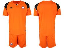Mens 19-20 Soccer Lille Olympique Sporting Club Blank Orange Goalkeeper Short Sleeve Suit Jersey