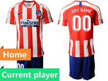 Mens 19-20 Soccer Atletico De Madrid Club Current Player Red And White Stripe Home Short Sleeve Suit Jersey