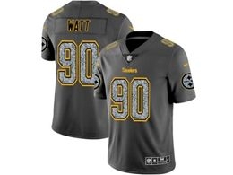 Mens Nfl Pittsburgh Steelers #90 T. J. Watt Pro Line Gray Fashion Static Vapor Untouchable Limited Jersey