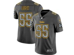 Mens Nfl Pittsburgh Steelers #55 Devin Bush Pro Line Gray Fashion Static Vapor Untouchable Limited Jersey