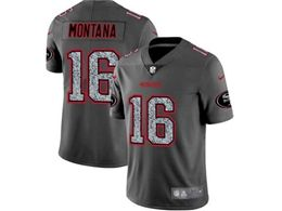 Mens Nfl San Francisco 49ers #16 Joe Montana Pro Line Gray Fashion Static Vapor Untouchable Limited Jersey