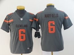 Women Youth Nfl Cleveland Browns #6 Baker Mayfield Gray Nike Inverted Legend Vapor Untouchable Limited Jersey