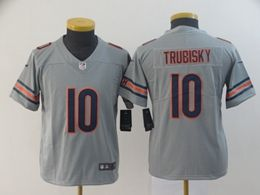 Women Youth Nfl Chicago Bears #10 Mitchell Trubisky Silver Nike Inverted Legend Vapor Untouchable Limited Jersey