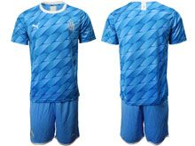 Mens 19-20 Soccer Olympique De Marseille Club ( Custom Made ) Blue Away Short Sleeve Suit Jersey