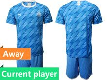 Mens 19-20 Soccer Olympique De Marseille Club Current Player Blue Away Short Sleeve Suit Jersey