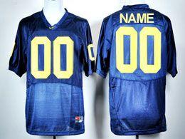 Mens Ncaa Nfl Michigan Wolverines Custom Made Elite Blue Jersey