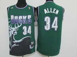 Mens Nba Milwaukee Bucks #34 Ray Allen Green Big Deer Adidas Jersey