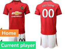 Mens 19-20 Soccer Manchester United Club Current Player Red Home Short Sleeve Suit Jersey