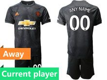 Mens 19-20 Soccer Manchester United Club Current Player Black Away Short Sleeve Suit Jersey
