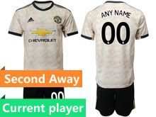 Mens 19-20 Soccer Manchester United Club Current Player White Second Away Short Sleeve Suit Jersey
