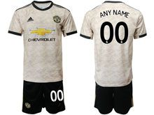 Mens 19-20 Soccer Manchester United Club ( Custom Made ) White Second Away Short Sleeve Suit Jersey
