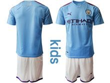 Youth 19-20 Soccer Manchester City Club ( Custom Made ) Blue Home Short Sleeve Suit Jersey
