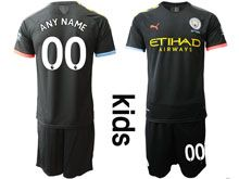 Youth 19-20 Soccer Manchester City Club ( Custom Made ) Black Away Short Sleeve Suit Jersey