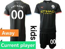 Youth 19-20 Soccer Manchester City Club Current Player Black Away Short Sleeve Suit Jersey