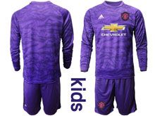 Youth 19-20 Soccer Manchester United Club ( Custom Made ) Purple Goalkeeper Long Sleeve Suit Jersey